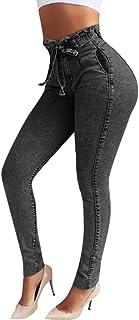 RISTHY Jeans Skinny Push-Up Mujer Vaqueros Pantalones Elásticos Jeans Denim Largo Mujer Cintura Alta con Cordón Lazo Vaque...