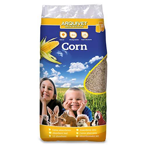 Arquivet Corn - Lecho higiénico de maiz molida para pequeñas mascotas - Absorbe líquidos y malos olores - Lecho higiénico para roedores - Conejos, ardillas, hamsters, cobayas, aves - 10 L