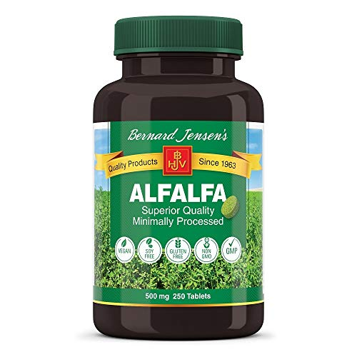 Bernard Jensen Pure Non-GMO Premium Alfalfa Leaf Supplement | Gluten-Free Vitamins, Minerals, Phytonutrients Organic Herbal Medicine | 500 Mg 250 Tablets
