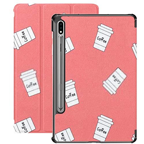 Funda Galaxy Tablet S7 Plus de 12,4 Pulgadas 2020 con Soporte para bolígrafo S, Linda Taza de Papel Blanca de Dibujos Animados con Soporte Delgado, Funda Protectora Tipo Folio para Samsung