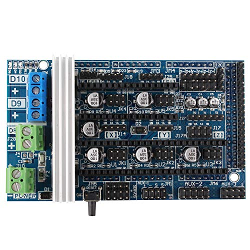 Jopto 3D Printer Ramps 1.6 Controller Board Expansion Control Panel with Heatsink for Reprap Prusa Mendel Arduino Ramps 1.4/1.5 Replacement