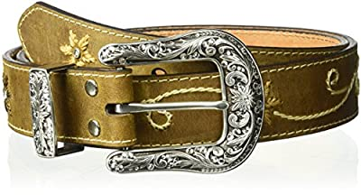 Nocona Belt Co. Women's Plus Size Floral Embossed Belt, brown,