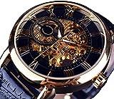 ZFAYFMA Diseño Retro StaeMPUNK Mecánico Skeleton Skeleton Watch Transparent Business Mesh Band Watch, Reloj de Hombre clásico, cumpleaños Black