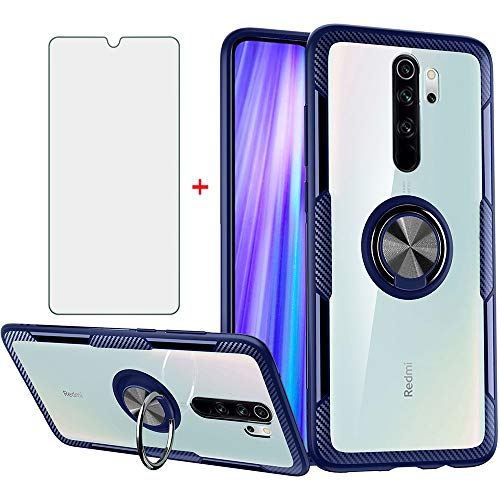 Phone Case for Xiaomi Redmi Note 8 Pro with Tempered Glass Screen Protector Clear Cover and Magnetic Stand Ring Holder Slim Hard Cell Accessories Xiami Xiomis Xiome Redme Note8 8pro Cases Men Blue