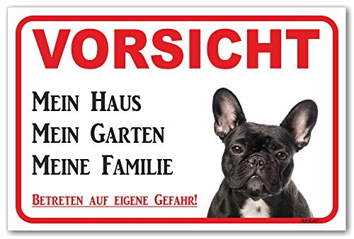 AdriLeo Schild - Vorsicht Schwarze französische Bulldogge - Mein Haus - (20x30cm) / Achtung Hund Wachhund