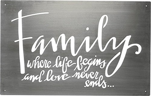 Primitives by Kathy 34341 Hand Lettered Metal Wall Art, Family Where Life Begins