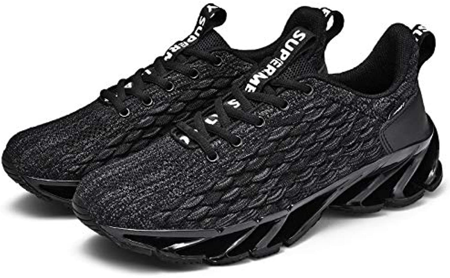JLCP Men's Casual Trainers running shoes, Fish scale Mesh Blade Athletic Sneakers Breathable Lightweight Non-slip Gym Walking Outdoor Sports shoes,Black,39