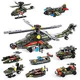 968 Pcs Helicopter Building Blocks Toy, Exercise N Play Creative Military Gunship Car Truck Combat War Set Bricks for Boys Girls Adut, 978 pcs