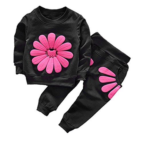 puseky Baby Girls Sunflower sudadera manga larga + pantalones conjunto de trajes de chándal (1-2 Años, Negro)