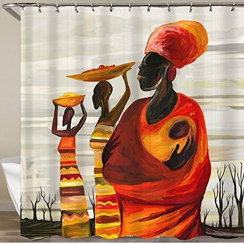 KGSPK Cortinas de Ducha,África Mujeres con bebé Obra Digital Arte Digital Pintura al óleo,Impermeable Cortinas Baño y Lavables Cortinas Bañera 180x180CM