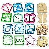 JOJOR Moldes para pan tostadas, 12 unidades, para sándwich, galletas, galletas, juego de cortadores de pan, para niños, para sándwich y galletas