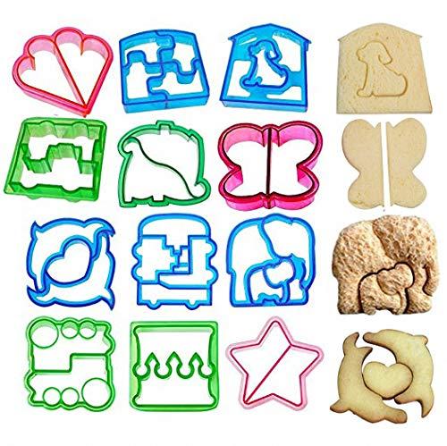 JOJOR Ausstechformen Brot Toast, 12 Stück Sandwich Ausstecher Keks Cutter, Plätzchen Ausstecher Set, Brotausstechformen Kinder, Bento Brotausstecher, Sandwich Cookie Cutter