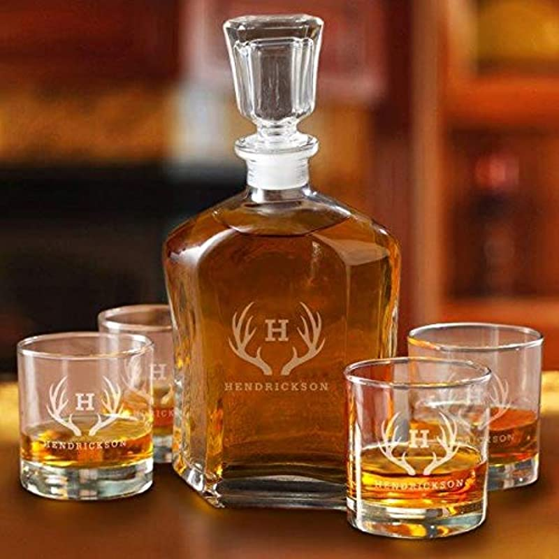 Personalized Whiskey Decanter Set With 4 Low Ball Glasses Antlers