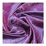 Stoff Polyester Kleidertaft lila blau Blume Stickerei