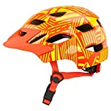XYBB Casco Bicicleta Casco de Ciclismo para niños con luz Trasera, Casco de Seguridad para Montar en Patinaje Infantil, Casco Protector para Bicicleta, Naranja y Amarillo