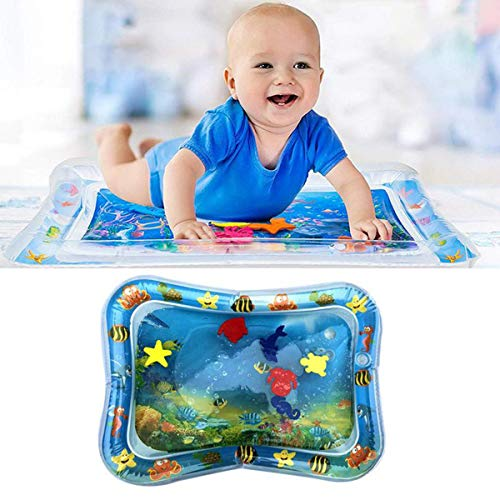 Greatangle Cool PVC Baby Inflatable Water Play Mat Patted Pad Baby Water Cushion Pad Tummy Time Activity Center Water Cushion multicolor Color box
