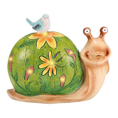 Wowlela Figuras de gnomo de jardín, resina solar, figura de caracol de dibujos animados, gnomos, esculturas de jardín al aire libre, decoraciones para patio, jardín, porche, regalo de adorno