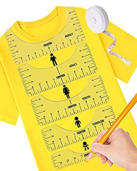 7 Pcs Tshirt Ruler Alignment Guide Perfect Tee Ruler for Vinyl Placement Sublimation Heat Press Accessories T-Shirt Sewing Collars Center Design Measurement Tools  Transparent