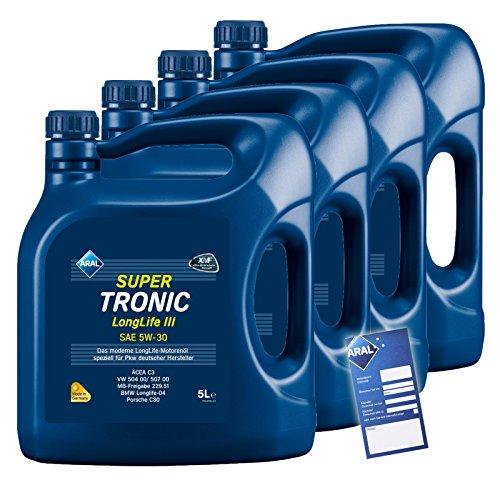 4x 5 L = 20 Liter ARAL SuperTronic Longlife III 3 5W-30 Motoröl inkl. Ölwechselanhänger