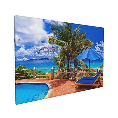 YEOLHOOO Original Decorative Painting Canvas Wall Art Paint Tropical Sea Uumbrella Swimming Poolcanvaswallart Decorative Painting Canvas Wall Art For Living Room, Bedroom 16x24 Inch