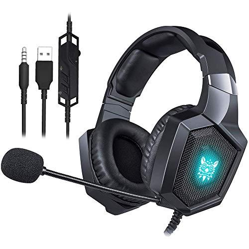 KJRJEJ Gaming Headset Headset con 7.1 Surround Sound Stereo, PS4 Cuffie con cancellazione di Rumore Mic & LED