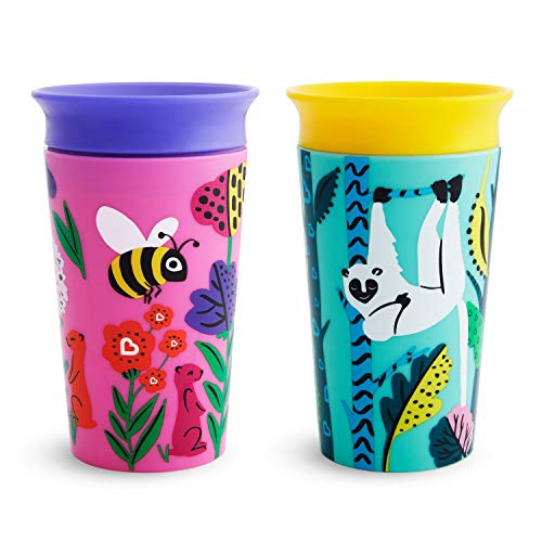 Munchkin Miracle 360 WildLove Sippy Cup, 9 oz / 266 ml, 2 Pack, Bee/Lemur
