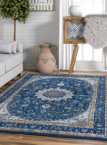 """Well Woven Djemila Medallion Blue Vintage Persian Floral Oriental Area Rug 8 x 11 (7'10"""" x 10'6"""") Distressed Modern Thick Soft Plush"""