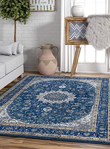 Ipek Vorleger/Teppich, Vintage, Damast, persisch, Blumendesign, orientalisch, 50,8x 78,7cm, modernes Shabby-Chic-Design, mehrfarbig, Synthetisch, blau, 5'3 Inches X 7'3 Inches