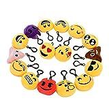 Zindoo Kindergeburtstag 16 Emoji Schlüsselanhänger Plüsch Tasche Anhänger 6cm Spielzeug Plüsch Kissen Geschenke für Kinder, Party Geburtstag Anhänger Dekorationen Zubehör für Taschen und Rucksäcke
