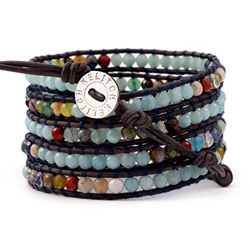 KELITCH Strang Leder Armbänder Personalisiert Zum Männer Frau Bunt Achat Perle 5 Wickeln Armband Auf Braun Leder