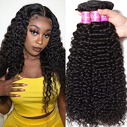 Unice Hair 10A Brazilian Curly Virgin Hair Weave 3 Bundles Unprocessed Human Hair Extensions Natural Color Can Be Dyed and Bleached Tangle Free 18 20 22inch