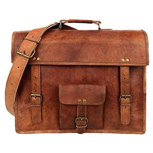 Paper High Grande sacoche en cuir vintage Marron avec une poche