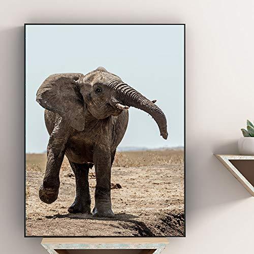 N / A Impresión de LienzoEstilo nórdico Travieso Lindo Elefante Lienzo Pintura Arte de Pared para Sala de Estar decoración del hogar póster artístico Cuadros de Pared sin Marco