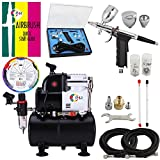 OPHIR Professional Airbrush Air Compressor 0.3mm,0.5mm,0.8mm Airbrush Spray Gun Kit with 110V Airbrushing Air Tank for Hobby Model Tanning Wall Car Paint to 86PSI Pressure with Color Wheel