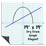 Magnetic Dry Erase Graph X-Y Coordinate Grid Whiteboard Sheet with Improved CleanWipe Surface by AgilePacks 19' x 19' for Classrooms, Math, Graphing Plus Magnetic Cleaning Cloth