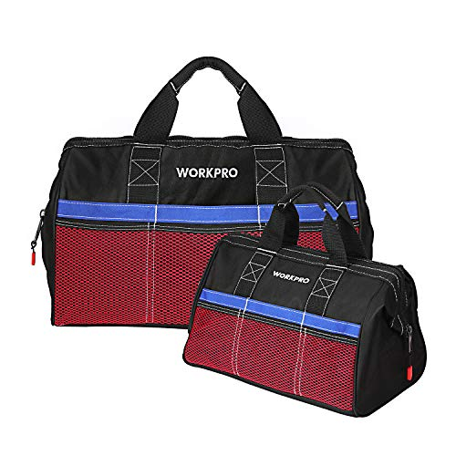 WORKPRO Tool Bag, 13-inch & 18-inch Tool Storage Bag, Zip-Top Wide Mouth Tool Tote Bag