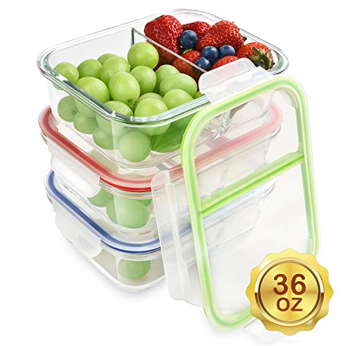 RENPHO Glass Meal Prep Containers 2 Compartment,Bento Box Containers Glass Food Storage Containers with Lids,Food Prep Containers Glass Storage Containers with lids Lunch Containers[3-Pack, 36oz]
