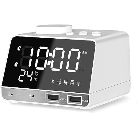 Radiowecker Digital Tischuhr Temperaturanzeige Bluetooth Lautsprecher USB MP3