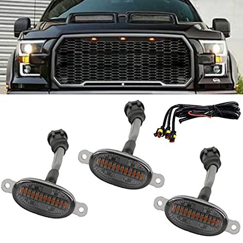 CIIHON Front Grille Lights Compatible with 2010-2014 & 2017-2021 Ford F150 F250 F350 Raptor 2013-2018 Dodge Ram 150 Amber Front Grill Grille LED Light (Amber LED Black Lens)