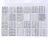 Rybtd Buchstabenperlen Zum auffädeln Weiß 1200 Stück Acryl Perlen Buchstaben 6mm Würfel Alphabet Spacer Perlen mit Herz perlen für Wortschreibweise DIY Armbänder Schnullerkette mit Namen