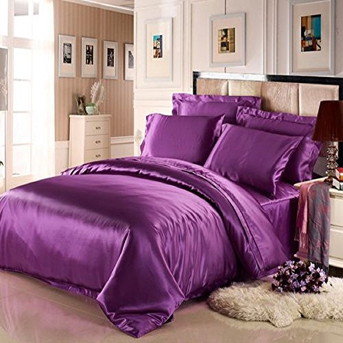 7 Piece Satin Bedding Sets Purple/Aubergine Double Bed Size Duvet Cover, Fitted Sheet, Cushion Cover, Pillow cases Set By Viceroybedding