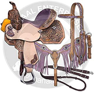 ME Enterprises Youth Child Premium Leather Western Barrel Racing Pony Miniature Horse Saddle Tack, Size 10 to 12 Inch Seat Available, Get Leather Headstall, Breast Collar,Reins