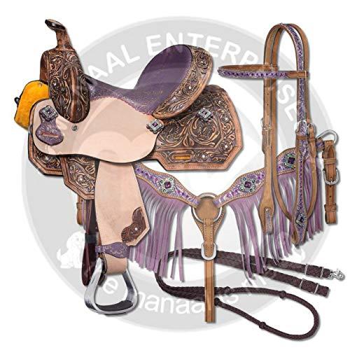 Manaal Enterprises Premium Leather Western Barrel Racing Adult Horse Saddle...