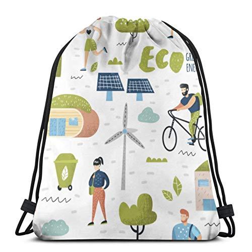Tienda asequible Green Town Tecnología de conservación del medio ambiente Eco cordón mochila deporte Bolsas Cinch Tote Bolsas para viajar y almacenamiento para hombres y mujeres 17x14 pulgadas