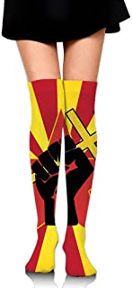 RobotDayUpUP Revolution Clipart Fist Womens Long Socks,cozy Girls Skirt Stockings Knee Thigh Socks For Running Soccer Sports Dance Yoga Cheerleader Hiking Outdoor