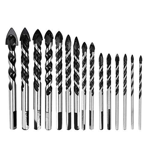 HighFree 15 PCS Masonry Drill Bits Set Tungsten Carbide Tip Drill Bits 3mm to 16mm for Glass, Concrete, Marble, Plastic, Brick, Tile, Wood and Cement