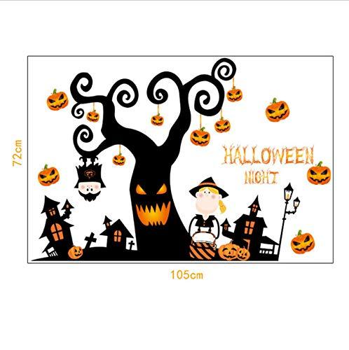 Cute Halloween Pumpkin Black Tree Wall Sticker Cartoon DIY Showcase Window Door Background Funny Halloween Home Wall Stickers 60 * 90cm