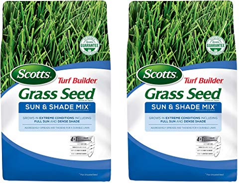 Scotts Turf Builder Grass Seed Sun & Shade Mix - Shade & Drought Resistant Grass Seed for Lawns, Aggressively Spreading Grass Seed, Seeds up to 2,800 sq. ft, 7 lb.(2-Pack)