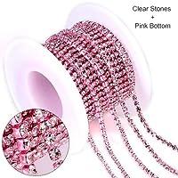 カラフルなチェーンの同じ色の底と石のトリミングカップチェーン liuqiangriben (Color : Pink Clear, Size : SS6 1Yard)