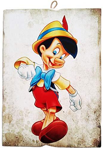 KUSTOM ART Cuadro de estilo vintage, serie Pinocho, impresión sobre madera, fabricado en Italia